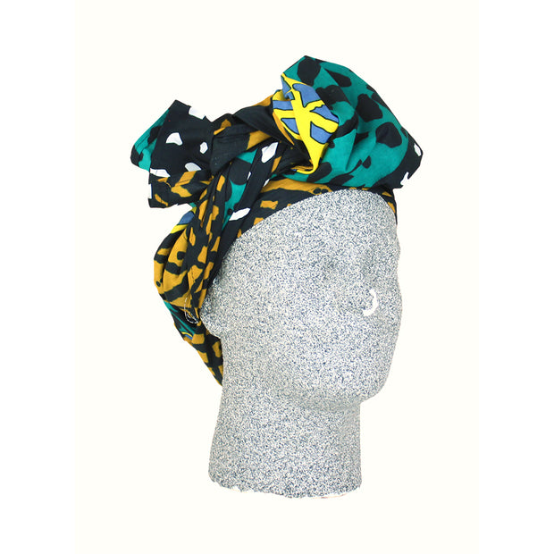 Blue & Orange African Print Headwrap