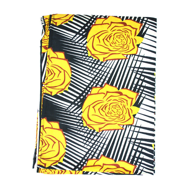 Yellow & Black African Print Headwrap