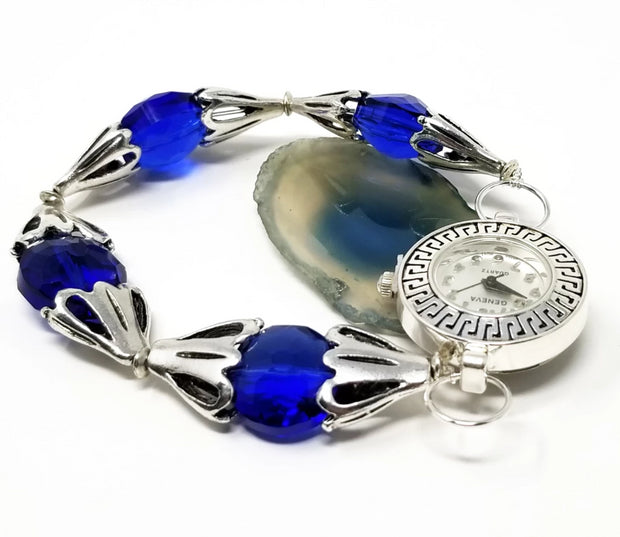 blue and silver handmade beaded watch for women