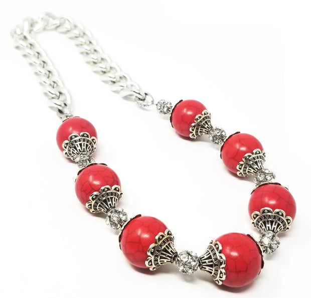 red stone crystal necklace for women with silver chain