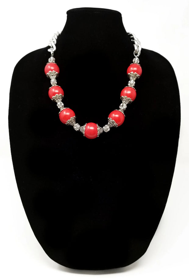 red stone crystal necklace with silver chain
