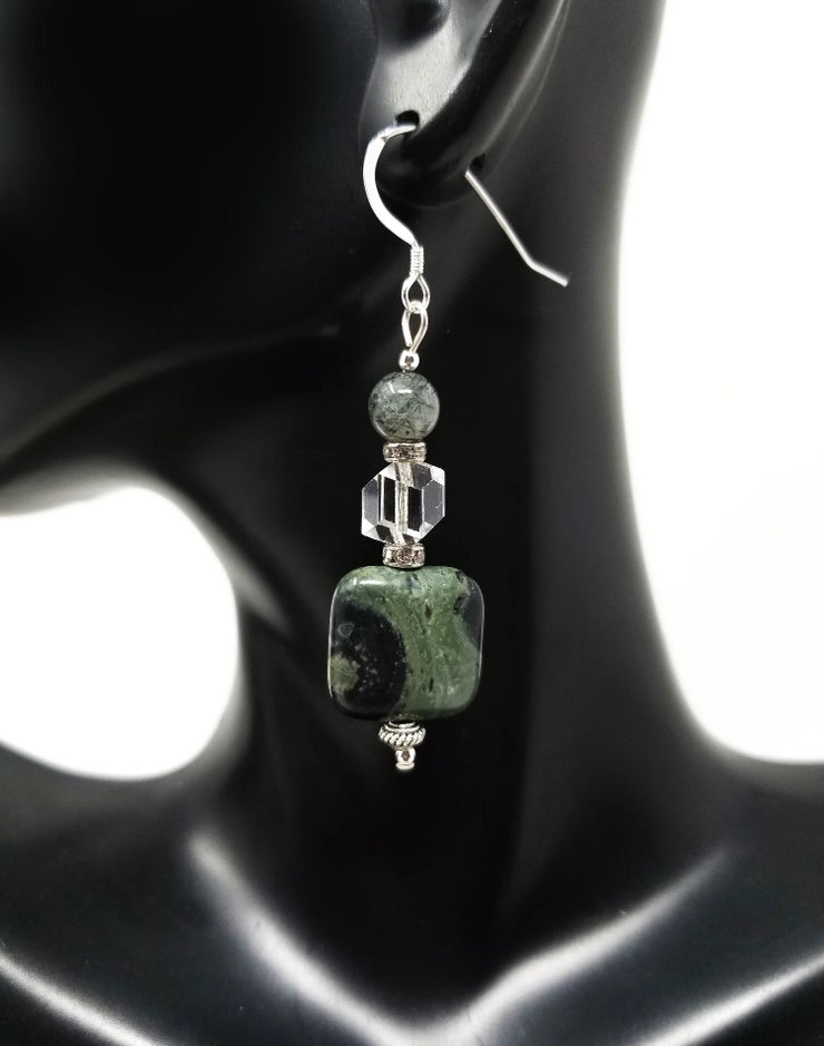 kambaba jasper gemstone earrings for women with crystal accents and sterling silver hooks
