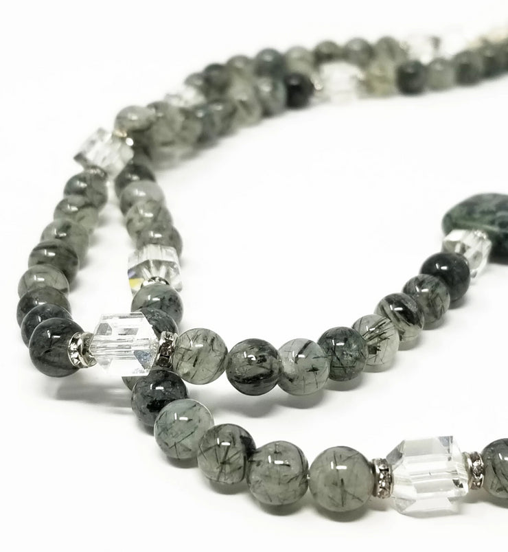 kambaba jasper gemstone necklace for women with crystal accents