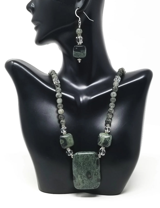 kambaba jasper gemstone jewelry set for women with crystal accents and sterling silver hooks