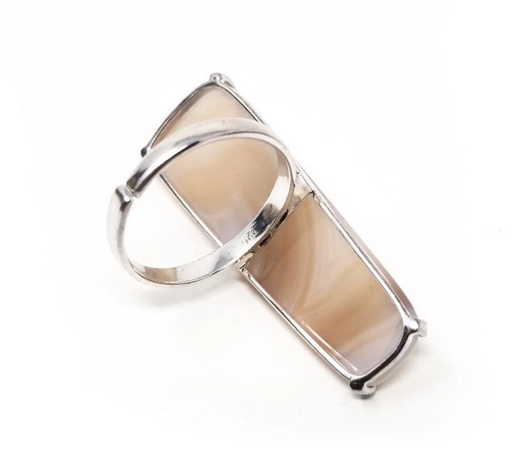 natural polished agate ring for women with sizable silver band