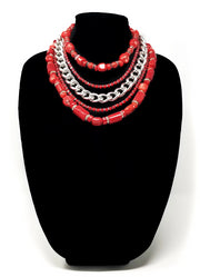 red coral statement chocker necklace for women with argentium silver chain