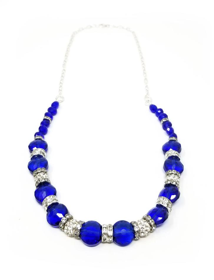 blue sapphire crystal necklace for women
