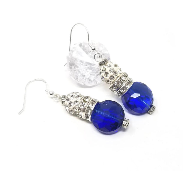 blue sapphire crystal dangle earrings for women