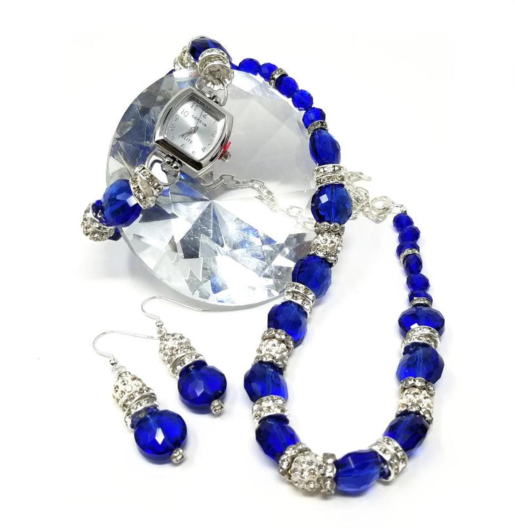 blue sapphire crystal necklace jewelry set
