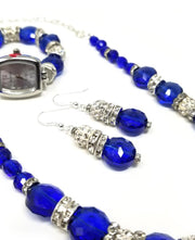 blue sapphire crystal necklace set for women