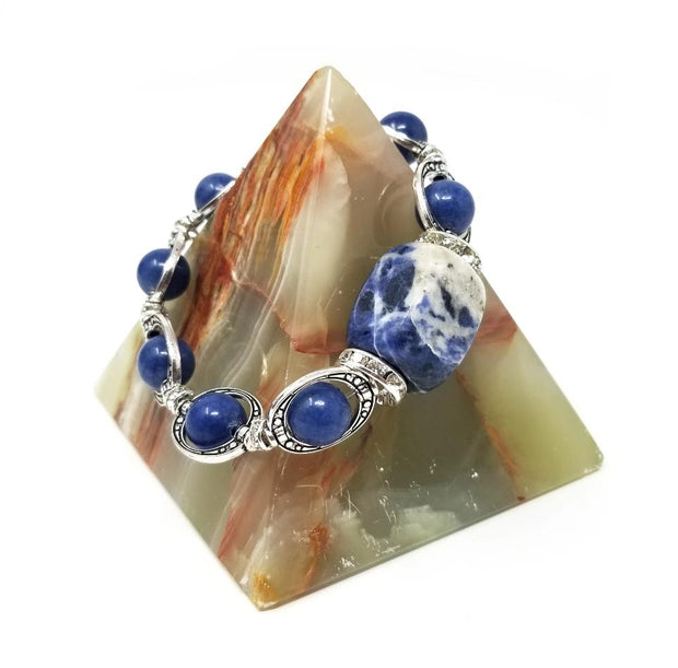 sodalite gemstone bracelet with silver accents
