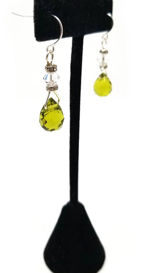 bright green peridot and crystal dangle earrings for women