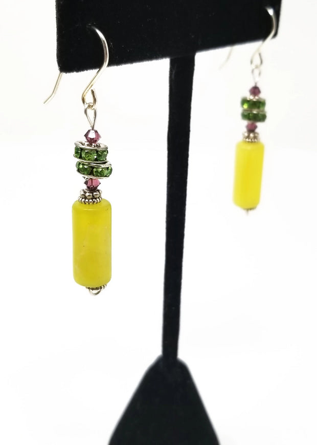new olive jade green crystal dangle earrings for women sterling silver