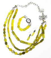 new olive jade green gemstone statement necklace set for women