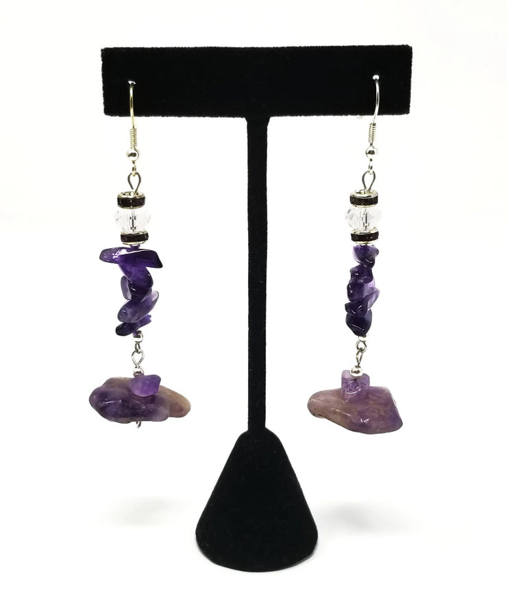 purple amethyst statement dangle earrings for women with sterling silver