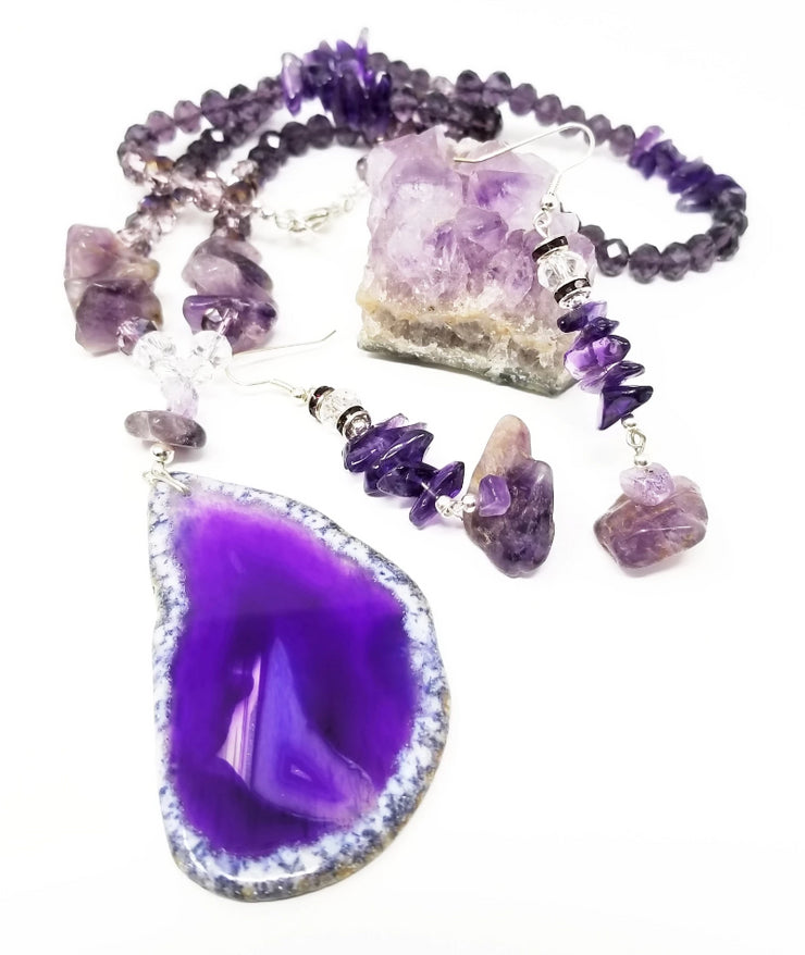 purple agate and amethyst statement gemstone necklace for women