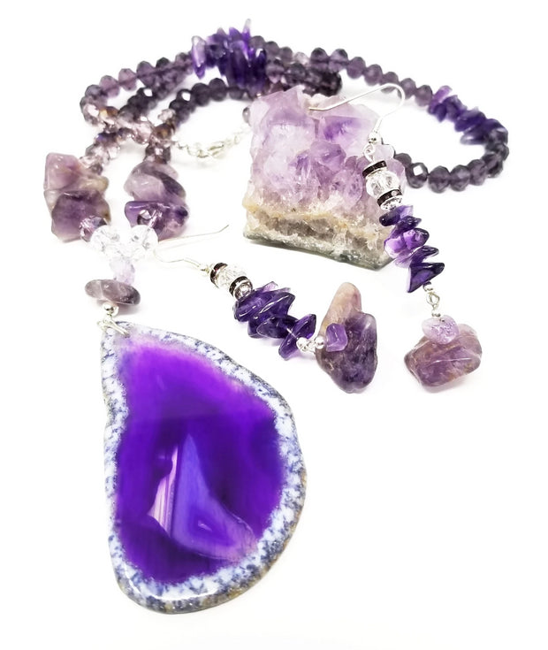 purple agate and amethyst statement gemstone necklace jewelry set for women