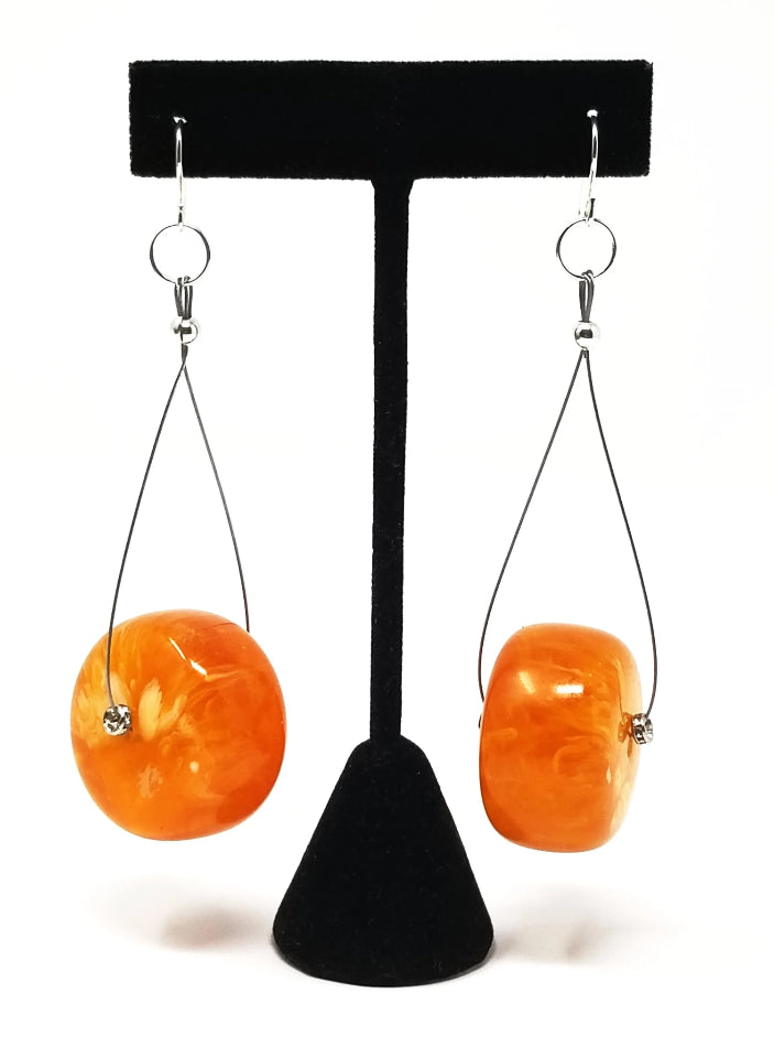African amber oversized dangle drop earrings for women