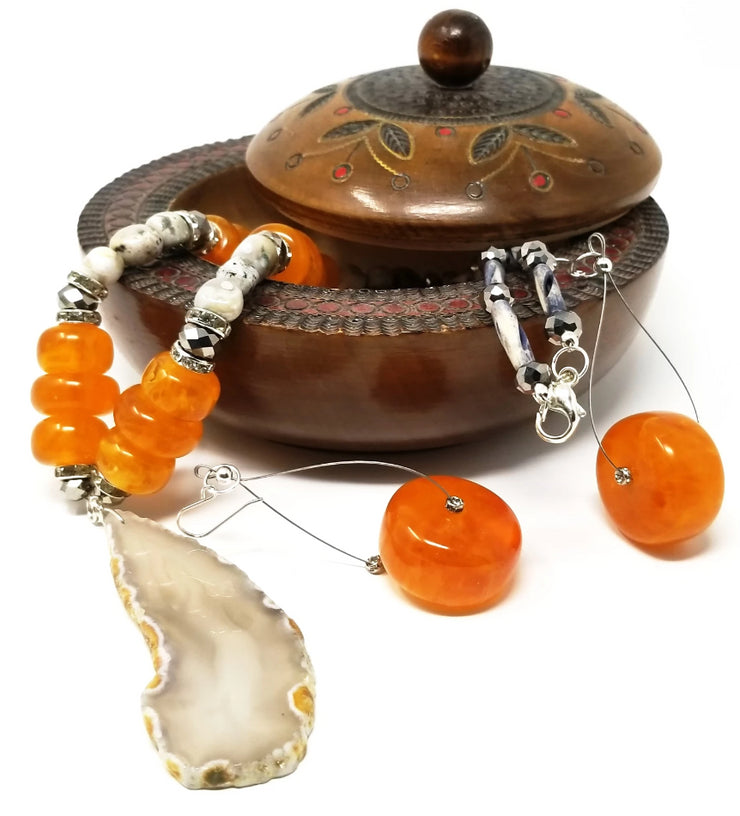African amber oversized dangle drop earrings for women with agate necklace