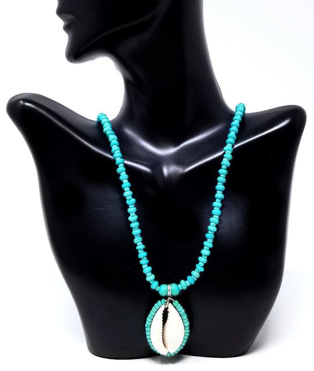Turquoise Cowrie Necklace