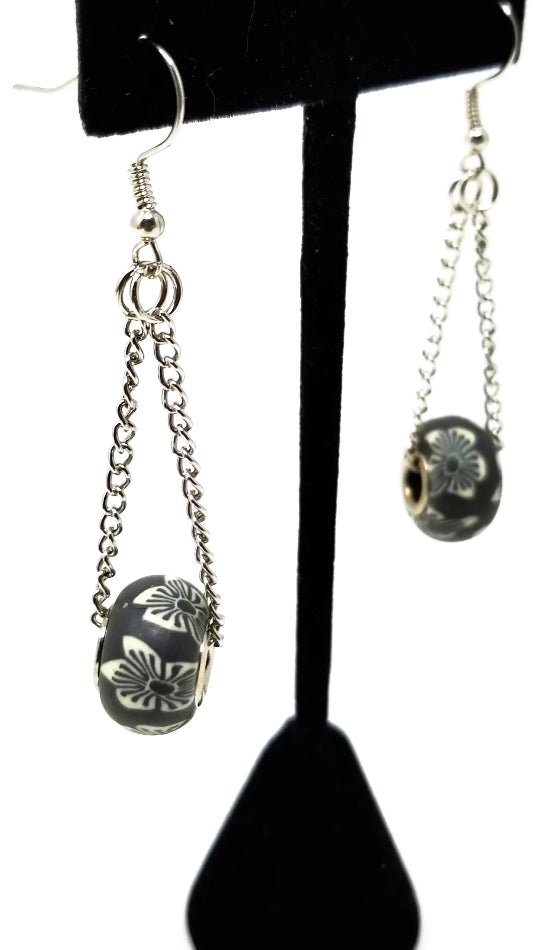 tropical floral gray pandora style dangle earrings for women sterling silver