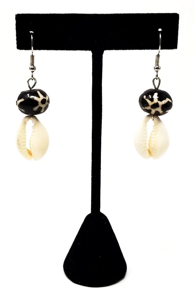 Kenyan batik bone cowrie shell earrings for women with sterling silver hooks