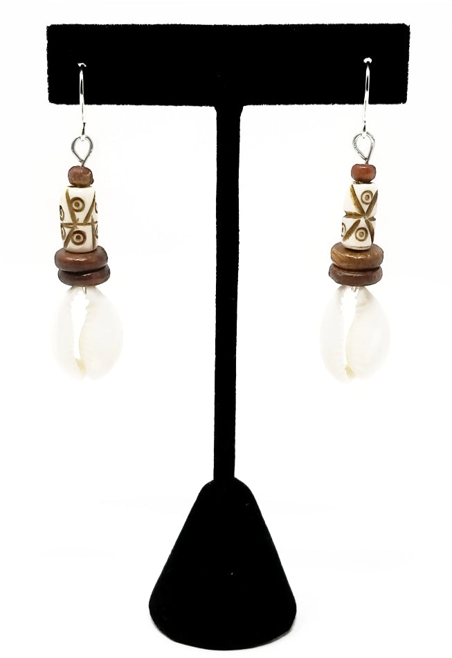 African cowrie shell earrings with wood accents and sterling silver hooks