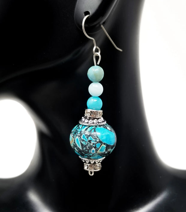 mosaic jasper and amazonite gemstone dangle earrings for women with sterling silver hooks