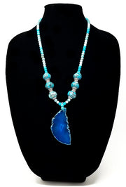 mosaic jasper and amazonite gemstone necklace for women with blue agate pendant