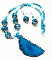 mosaic jasper and amazonite gemstone necklace set for women with blue agate pendant
