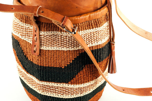 Cinched Leather Sisal Purse