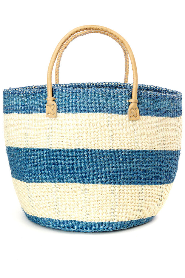 Blue Striped Sisal Handbag