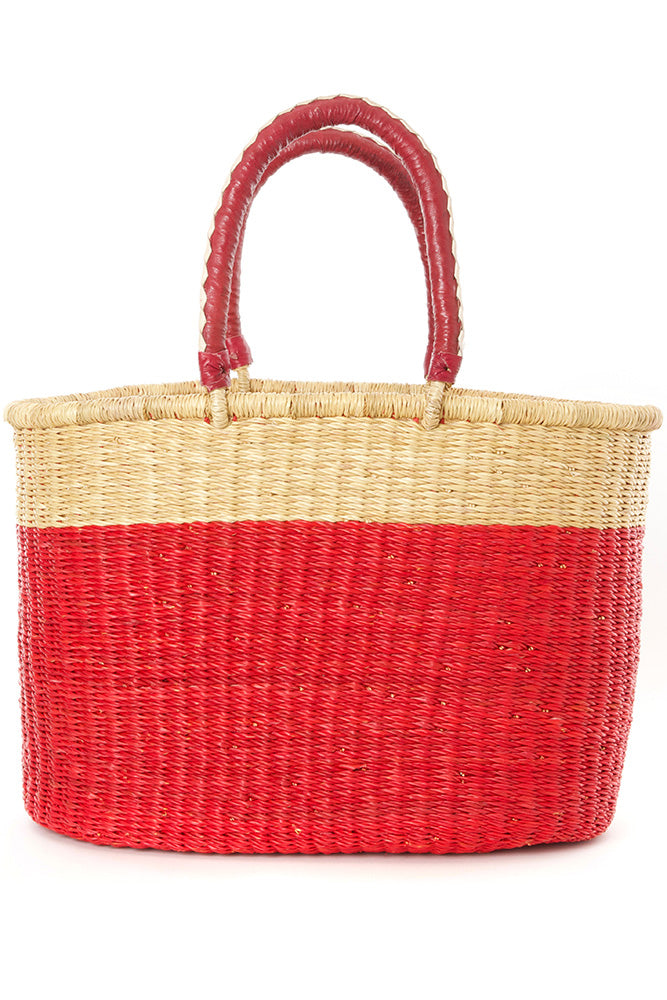 Cherry Color Block Bolga Shopper