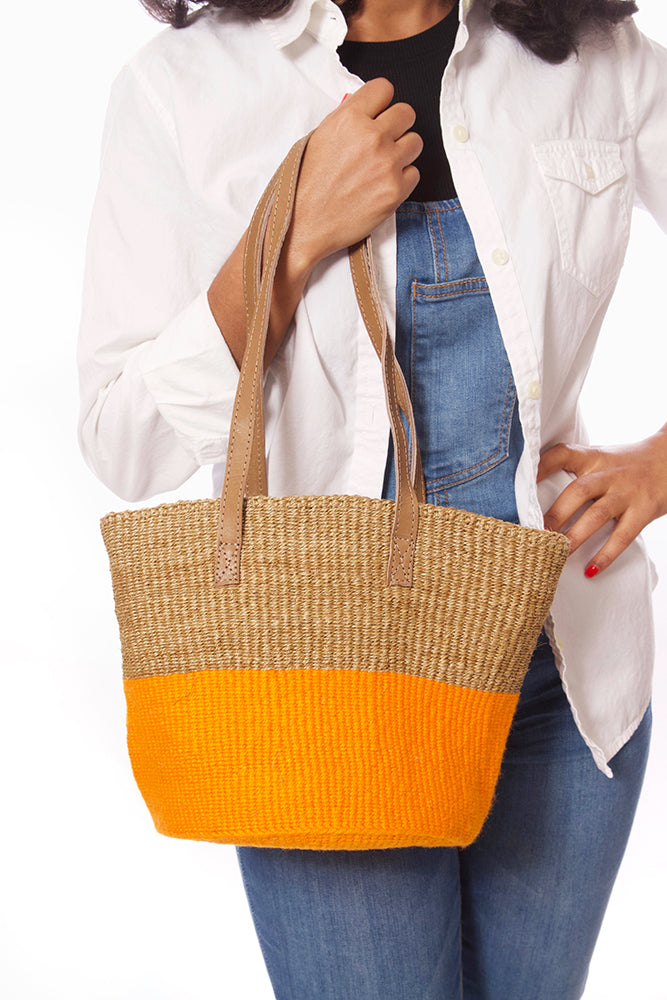Sisal and Marigold Wool Handbag