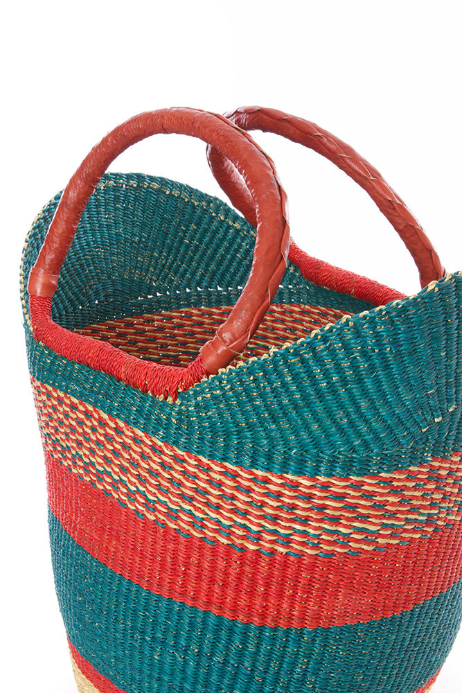 Amaranth & Aqua Bolga Shopper