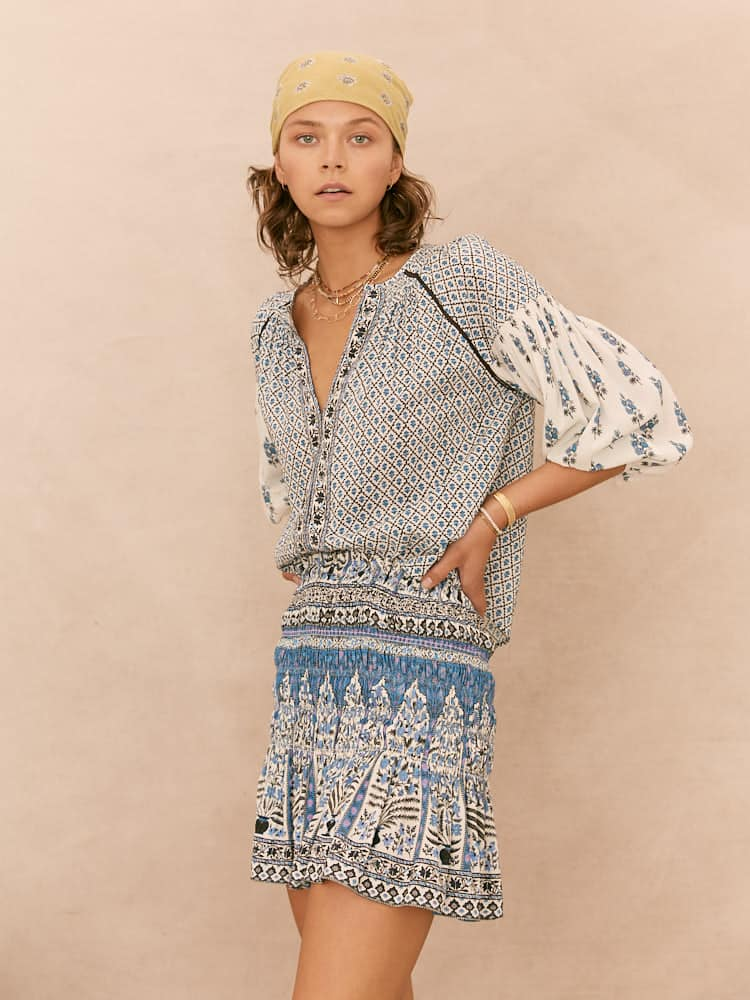 ARCH BLUES SMOCK BLOUSE