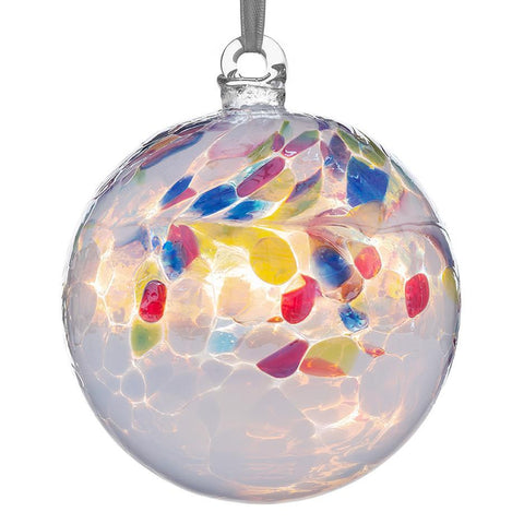 Sienna Glass Primary White Friendship Ball Bauble