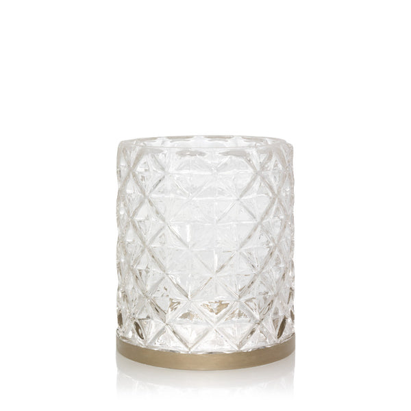 Langham Metallic Band on Faceted Glass Votive Holder