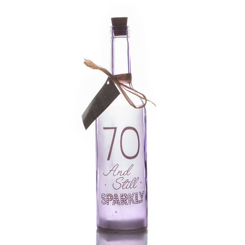 70th Birthday personalised led bottle