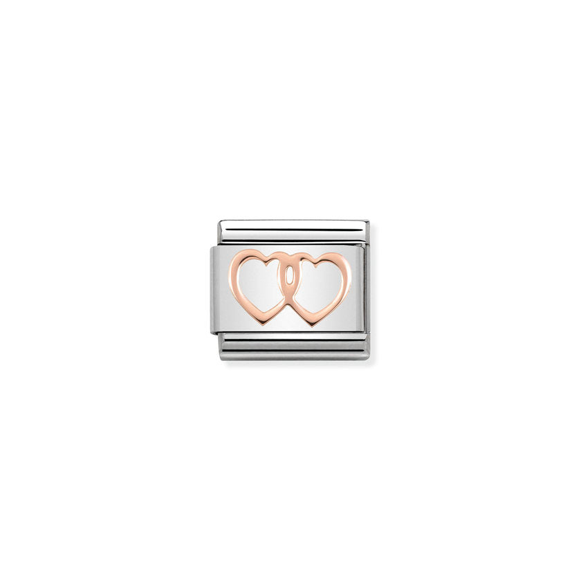 Double Hearts Rose Gold