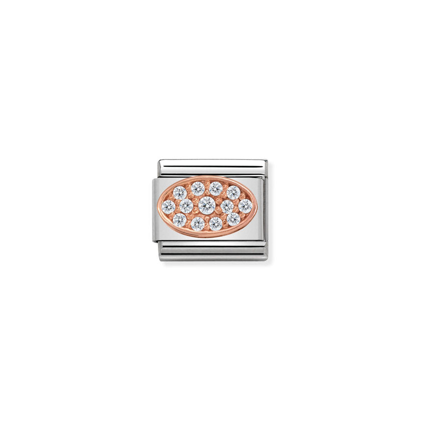 White Zirconia Oval Rose Gold Nomination Composable Classic Link