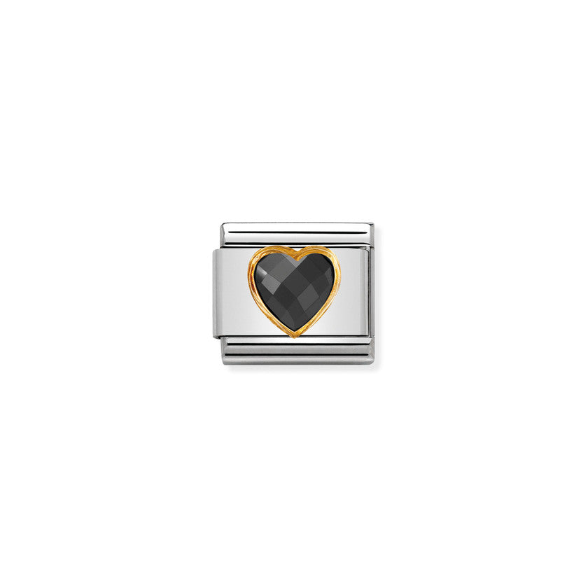 Black Heart Cubic Zirconia Gold