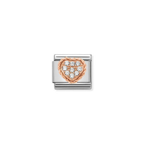 Heart With Cubic Zirconia Rose Gold