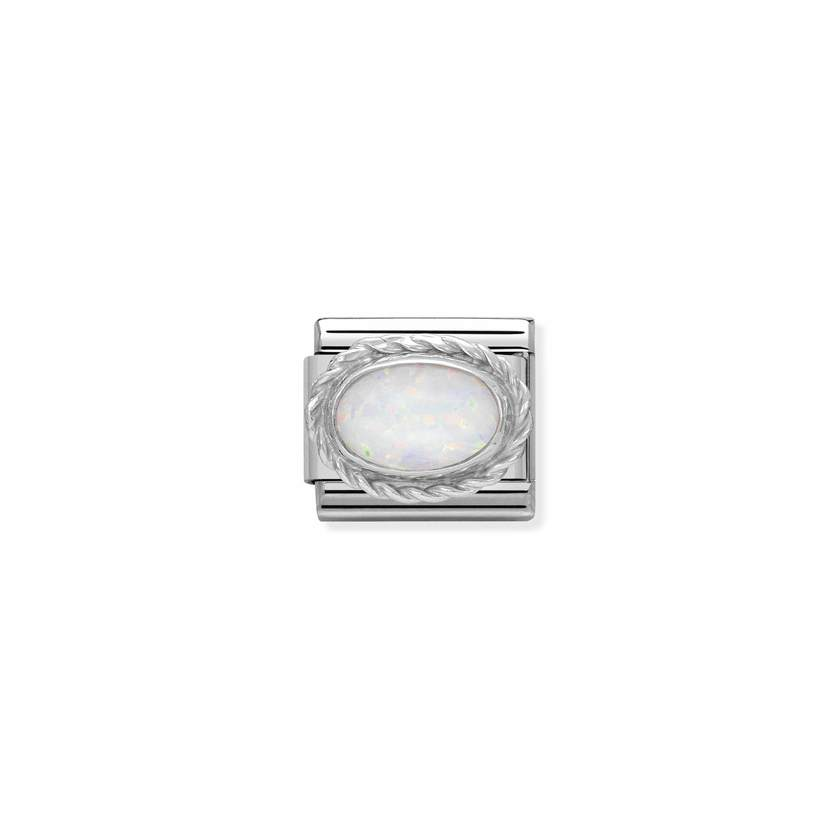 White Opal Silver Oval Nomination Classic Composable Link