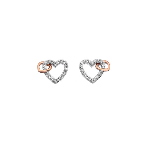 Togetherness Open Heart Rose Gold Earrings Hot Diamonds Jewellery
