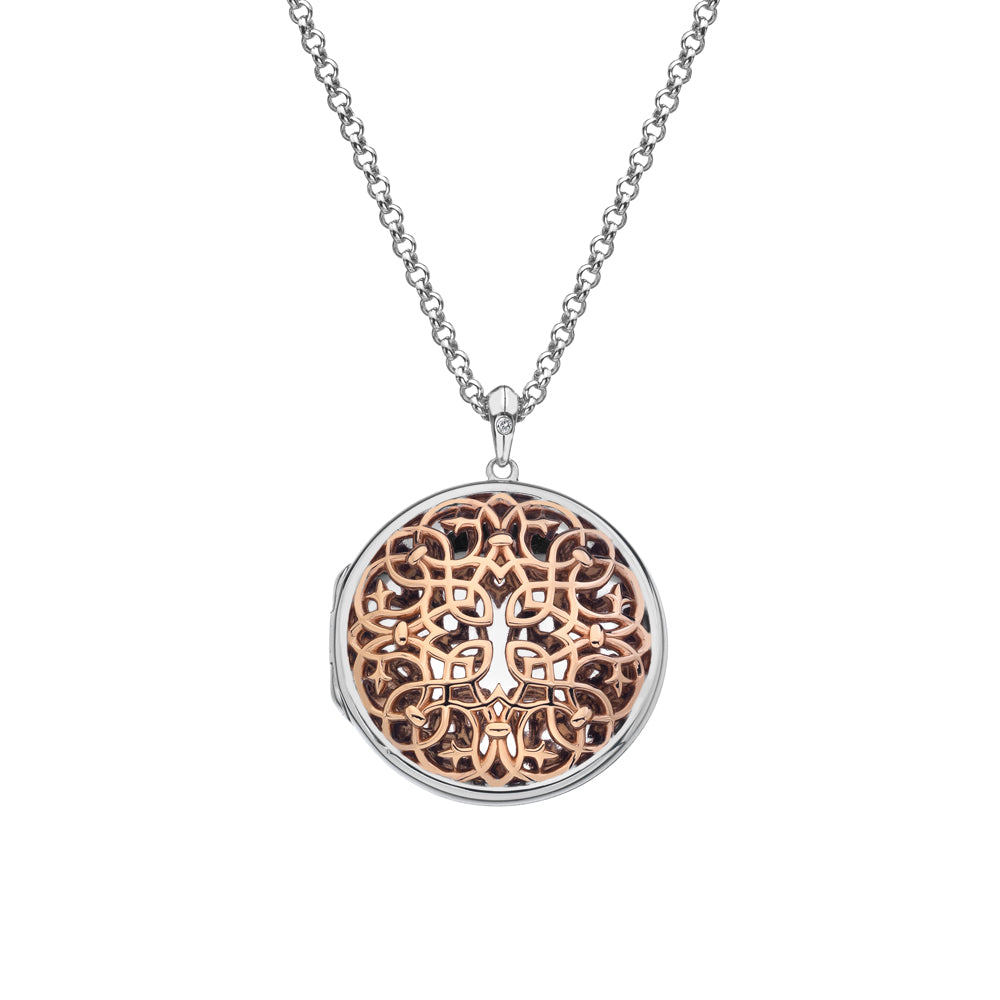 Embrace Circle Locket Large Rose Gold Locket | Hot Diamonds Jewellery