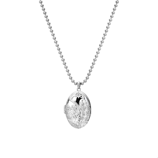 Engraved Oval Locket Locket Hot Diamonds Jewellery