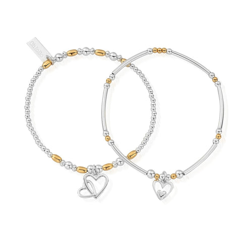 Gold & Silver Double Devotion Set of 2 Stacking Bracelets Chlobo