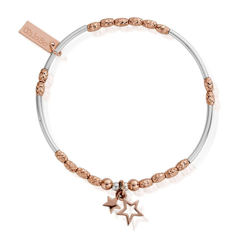 Rose & Silver Double Star Bracelet