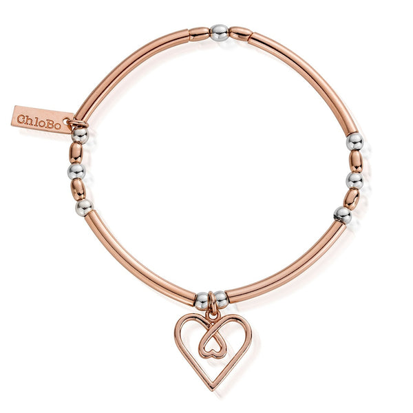 Rose & Silver Divine Love Heart Bracelet